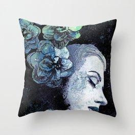 Obey Me: Blue (graffiti flower woman portrait) Throw Pillow