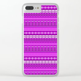 Modern Native Navajo Ethnic Tribal V.02 - Fuchsia Color Clear iPhone Case