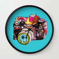 girl Wall Clocks featuring Picture This by Bianca Green