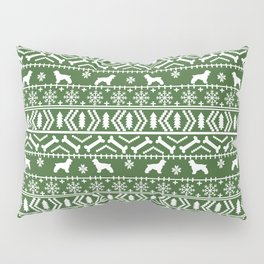 Cocker Spaniel fair isle christmas pattern dog breed holiday gifts green and white Pillow Sham