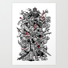 Nuclear Ninja Turtles Black and White Art Print