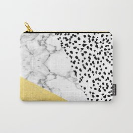 Carina - gold black and white with marble abstract painting minimalist decor dorm college nursery Carry-All Pouch