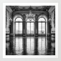Giant French castle windows antique Paris ballroom hall and chandelier baroque wall mural background by igalaxy
