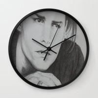 johnny depp Wall Clocks featuring Johnny Depp by Brooke Shane