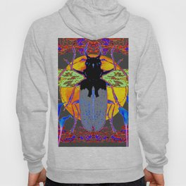 MYSTIC BLACK  BEETLE BLUE CALLA LILIES MOON ART Hoody