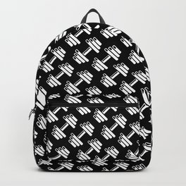 Dumbbellicious inverted / Black and white dumbbell pattern Backpack