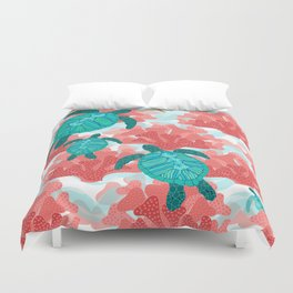 Sea Turtles in The Coral - Ocean Beach Marine Duvet Cover