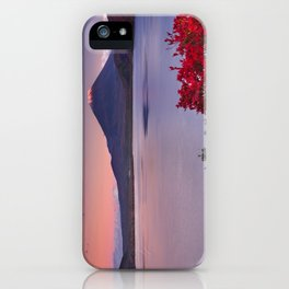 I - Last light on Mount Fuji and Lake Motosu, Japan iPhone Case