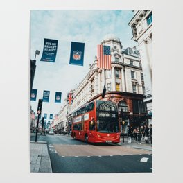 London Bus at Piccadilly Square by James Connolly Poster