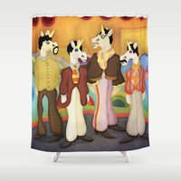 yellow submarine Shower Curtains featuring Unicorn Submarine by That's So Unicorny
