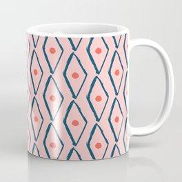 Pink Navy Diamond pattern Coffee Mug