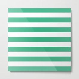 Horizontal Stripes (Mint/White) Metal Print