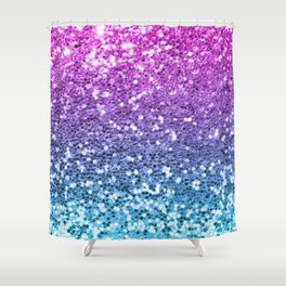 Bright Blue Purple Glitters Sparkling Pretty Chic Bling Background Shower Curtain