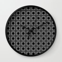 SQUARES RETRO BLACK AND WHITE Wall Clock