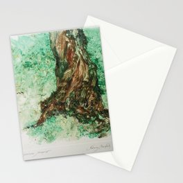 Tree Trunk Watercolor Monoprint Stationery Cards
