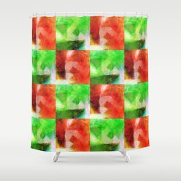 Apple Chequers Shower Curtain