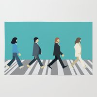 downton abbey Area & Throw Rugs featuring The tiny Abbey Road by Victor Trovo Afonso
