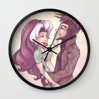 rogue Wall Clocks featuring Rogue & Gambit by Kaz Palladino