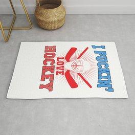 I Puckin Love Hockey Rug