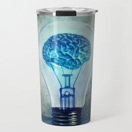 lightbulb brain shining Travel Mug