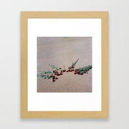 Red Flowers, Pink Street Framed Art Print