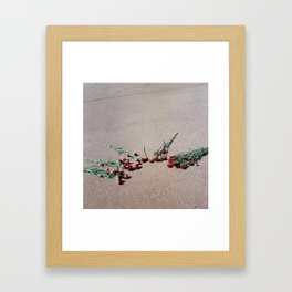 Red Flowers, Pink Street Framed Art Print