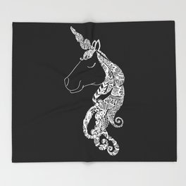 The Ivory Unicorn - Zentangle monochrome Throw Blanket