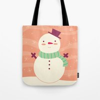 snowman Tote Bags featuring Snowman by Claire Lordon