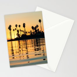 Palm Trees Sunset Water Reflections Stationery Cards