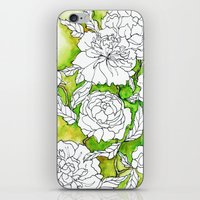 peonies iPhone & iPod Skins featuring Peonies by Dheiuk