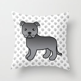 Blue English Staffordshire Bull Terrier Cartoon Dog Throw Pillow