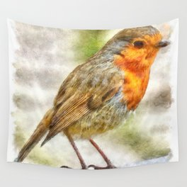 Christmas Robin Winter Watercolor Wall Tapestry