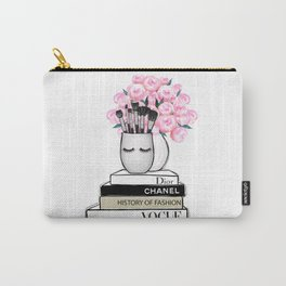 Girly illustration of fashion books flowers and cosmetic brushes Carry-All Pouch
