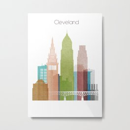 Cleveland art skyline, Metal Print