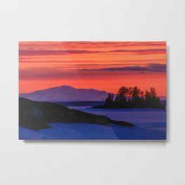 Sunset in winter with red sky Metal Print