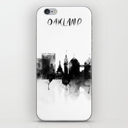 Oakland Black and White Skyline poster iPhone Skin