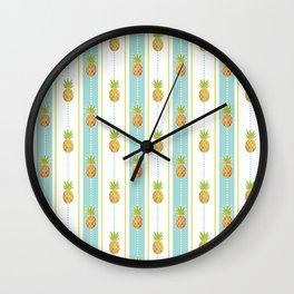Vintage Glitter Pineapples Wall Clock
