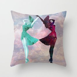 Cloudy Space with Girls Dancing Throw Pillow
