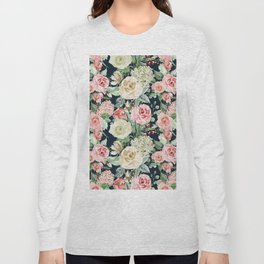 Country chic navy blue pink ivory watercolor floral Long Sleeve T-shirt