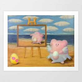 if only Magritte could play PokemonGo Art Print