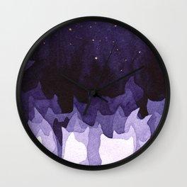 purple cats Wall Clock