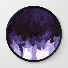 purple cats Wall Clock