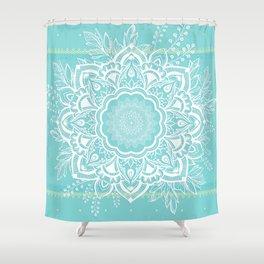 mandala bohemian embellishments floral medallion turquoise Shower Curtain