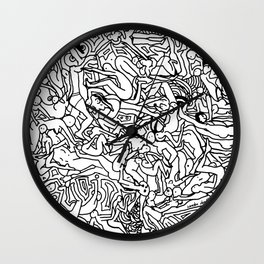 Lots of Bodies Doodle - Closeup Wall Clock
