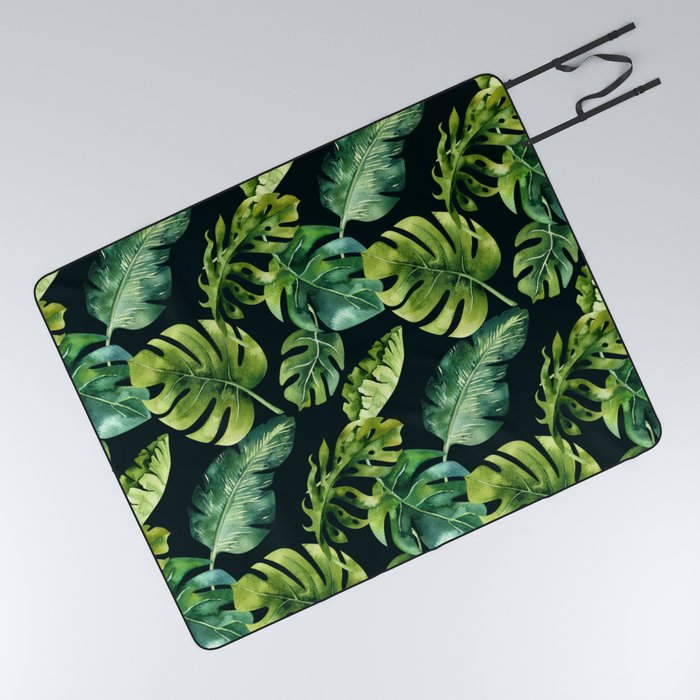 Watercolor Botanical Tropical Palm Leaves on Solid Black Background Picnic Blanket