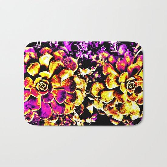 Purple Yellow Flower Plant, Pop Art Bath Mat