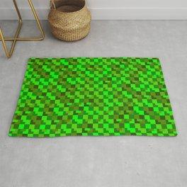 Interweaving mosaic of green intersecting squares and dark blocks. Rug