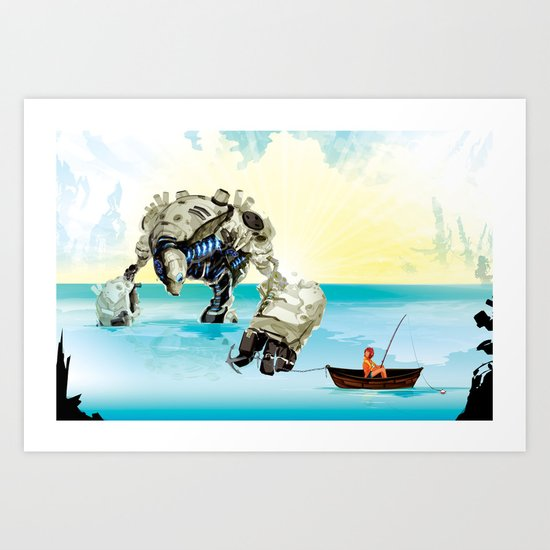 Cassie & Tonk: Gone fishin Art Print