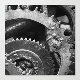 Rusted Wheel BW Canvas Print