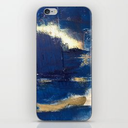 Halo [2]: a minimal, abstract mixed-media piece in blue and gold by Alyssa Hamilton Art iPhone Skin